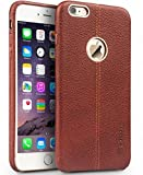 TGK® Premium Luxury Leather Lexza Series Double Stitch Shell with Metallic Logo Display Vorson Back Cover Case for Apple iPhone 5, 5S (Brown)