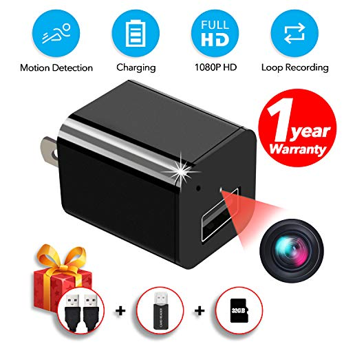 Spy Camera Charger, Hidden Camera,with 32GB SD Card and Reader,Smart Motion Detection,Video HD 1080P,Plug and Play, USB Charger Camera,Hidden Nanny Camera,Security Cameras for Homes,No Wi-Fi Needed