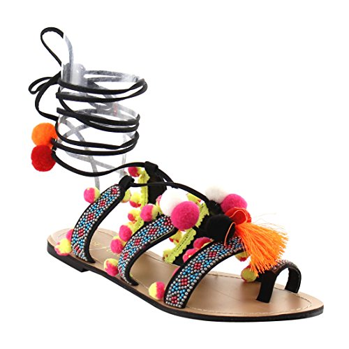 Chase Pom amp; Black Simone Pom Chloe Beads Wrap 1 Sandals Flat Leg Womens Tassel CrTCzxU