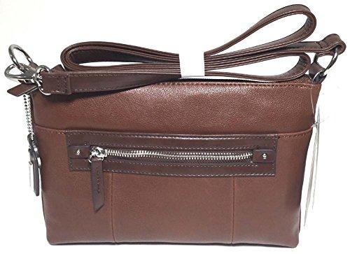 Tignanello City Sleek Crossbody, Rust/Dark Brown (Brown Leather Tignanello)