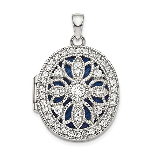 925 Sterling Silver Cubic Zirconia Cz Oval Photo Pendant Charm Locket Chain Necklace That Holds Pictures Fine Jewelry Gifts For Women For Her