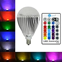 LONOVE® 10W RGB LED Light Bulb Ir Remote Control E12