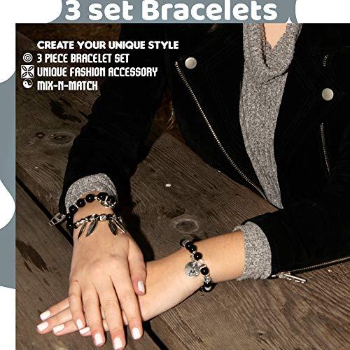 Men's bracelets, Mens gifts, Mindfulness bracelet men, Mens Meditation bracelets set, Adjustable bracelet for him, Yoga bracelets for men, Unisex black bracelets, Men's accessories, Men's fashion style bracelets