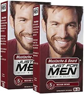 Amazon.com: Just For Men Brush-In Color Mustache & Beard - Medium ...