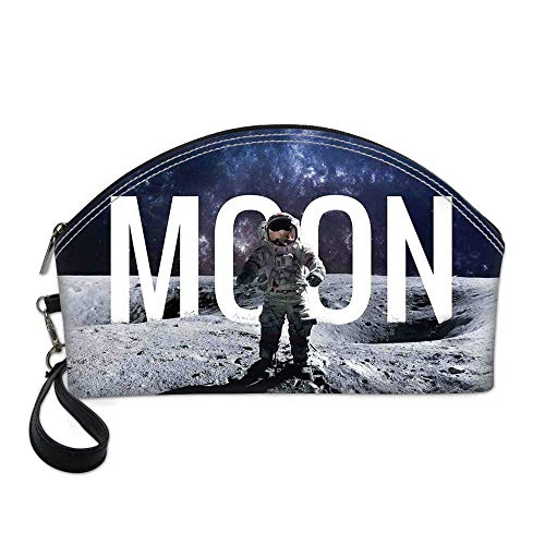 Outer Space Decor Small Portable Cosmetic Bag,Miniature Toy Astronaut on Foreground of Giant Moon Big Bang Mars Print For Women,One size