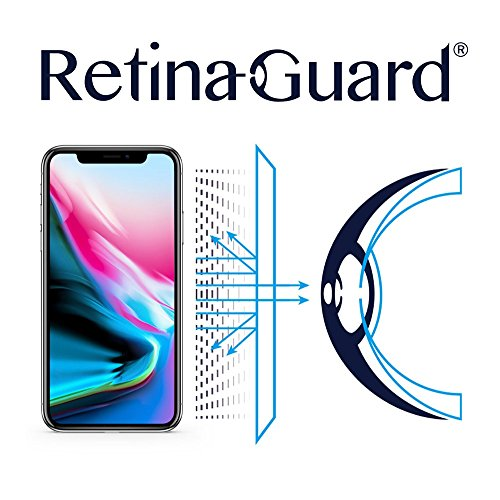 RetinaGuard Anti UV, Anti Blue Light Screen Protector for iPhone Xs, iPhone X, SGS and Intertek Tested, Blocks Excessive Harmful Blue Light, Reduce Eye Fatigue and Eye Strain