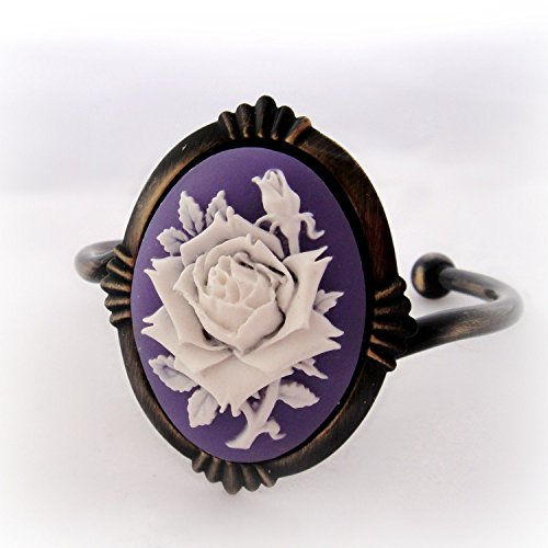 Large purple rose cameo cuff bracelet in antique gold ()