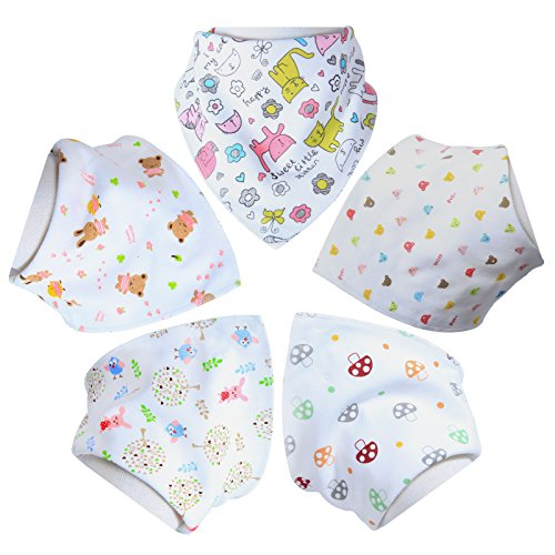 Aivedo Baby Bandana Drool Bibs,5- Pack Set Adjustable Snaps - Soft Absorbent Hypoallergenic 100% Cotton Feeder Bib- Burp Cloths Gifts for Drooling,Feeding and Teething-Girls Gifts