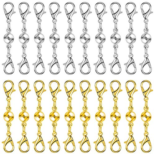 Paxcoo 20Pcs Magnetic Jewelry Necklace Clasps, Bracelet Extender Magnetic Locking Jewelry Clasps and Closures for Necklaces, Bracelets and Jewelry