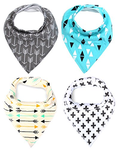 Moo Swaddle (MKONY Baby Bandana Drool Bibs with 2 Snaps,Arrows & Triangles Set,4-Pack Soft Absorbent Cotton, Cute Baby Gift for Boys &)