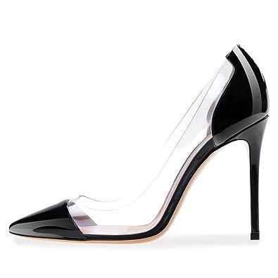 cecdc68980 UMEXI Pointede Toe Transparent High Heels Stiletto Pumps Party Wedding  Dress Shoes for Women Black Size