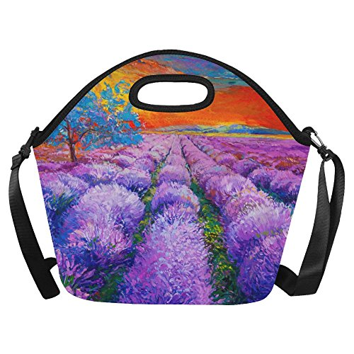 Gogogosky Oil Painting Of Lavender Fields Lunch Bag Lunch Tote Box with Detachable Adjustable Strap -