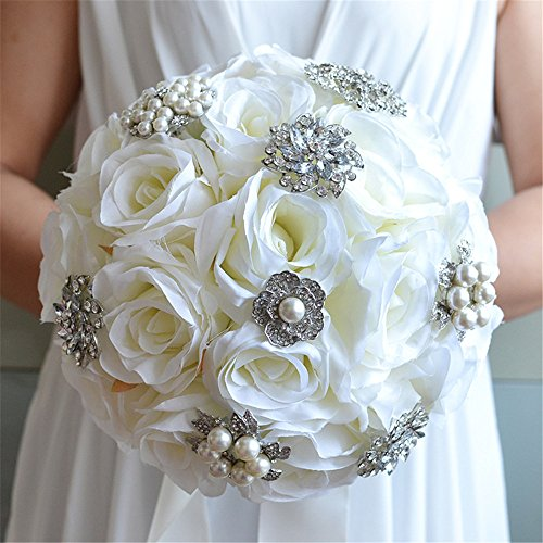 Prettybuy Handmade Diamond Pearl Rhinestone Brooch Bridal Hold Flowers Wedding Bouquet Roses Bouquet for Photo Shooting, Valentine's Day, Proposal, Birthday and Special Day Gift