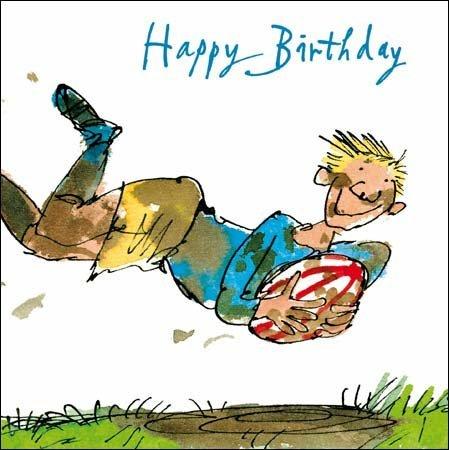 Woodmansterne Male Birthday Card Quentin Blake Rugby Star – Male Birthday Greetings