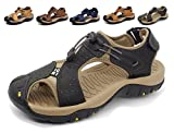 Asifn Athletic Sport Sandals Outdoor Men Summer Fisherman Beach Leather Casual Shoes Breathable Strap Hiking Walking (9 M US, Black)