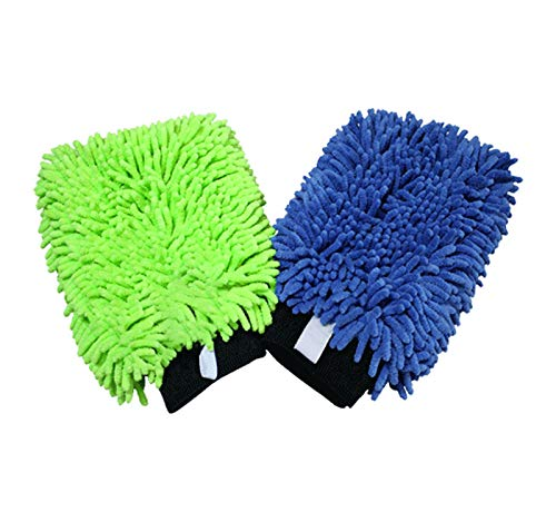THE RAG COMPANY (2-Pack) Premium Soft Microfiber Chenille Knobby SCRATCH-FREE, LINT-FREE Wash Mitts, One Royal Blue and One Lime ()