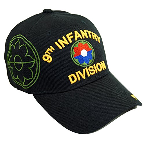 U.S. Military Official Licensed Embroidery Hat Army Navy Veteran Baseball Cap (9TH Infantry Division-Black)