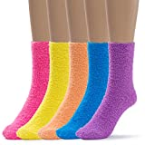 Silky Toes Womens 5 Pairs Warm Fuzzy Slipper Casual Socks (1-Assorted Solid)