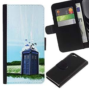 KLONGSHOP // Tirón de la caja Cartera de cuero con ranuras para tarjetas - Dr 0MS - Cabina de Policía - Apple Iphone 6 //