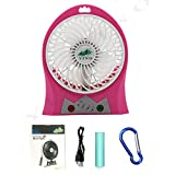 YINO Mini USB 3 Speeds Rechargeable fan,Portable Fan with 2200mAh Power Bank and Flash light,for Traveling,Fishing,Camping,Hiking,Backpacking,BBQ,Baby Stroller,Picnic,Biking,Boating (Red)