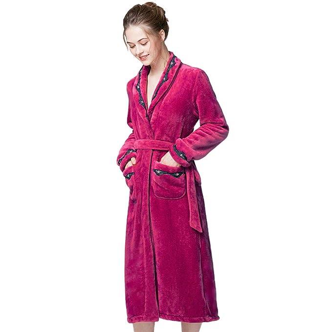 Bata de Felpa de Color Sólido para Mujer, Bata de Baño Larga de Microfibra de Poliéster con Bolsillos Laterales Albornoces de Vestido de Noche: Amazon.es: ...