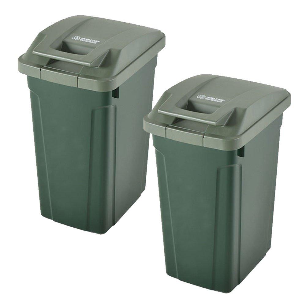 ASVEL SP ハンドル付ダストボックス 35L 2個セット ゴミ箱 ごみ箱 ダストボックス おしゃれ ふた付き アスベル (グリーン×グリーン) B0747F8KZ2 グリーン×グリーン グリーン×グリーン