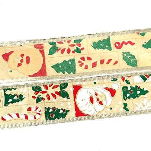 10 Yards (30 Feet) - 2 Inch (5cm) Width - Imitation Silk Satin Ribbon Christmas Tree Santa Claus Pattern with Golden Trim - Satin Nickel Santa