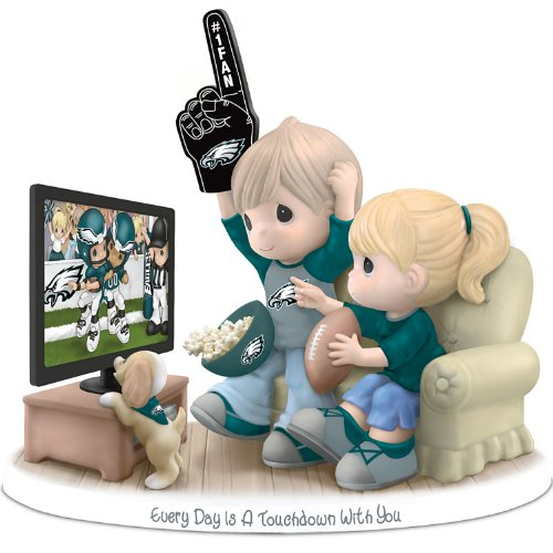 Figurine: Precious Moments Every Day Is A Touchdown With You Eagles Figurine by The Hamilton Collection