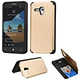 JITTERBUG SMART (5.5inch) Case, LUXCA Designed Armor [Shock Absorption] Drop Protection Hybrid Dual Layer Defender Cover for JITTERBUG SMART (5.5inch) (Gold Armor w/ Card Slot)