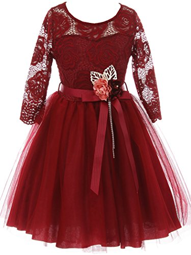 Big Girls' Long Sleeve Girls Dress Floral Lace Roses Corsage Christmas Flower Girl Dress Burgundy 12 (J20KS98)