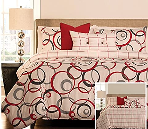 Bedecor 3 Pieces Reversible Duvet Covers and Pillow Shams Bedding Set, Soft Microfiber, Simple Circle and Red Box Prints - Circle Print Tie