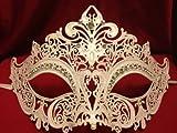 White Venetian Laser Cut Metal Mask w/ Crystal Clear Rhinestones