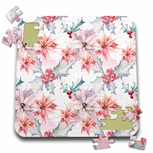 Anne Marie Baugh - Christmas - Pretty Pink Poinsettia and Holly Berry Christmas Pattern - 10x10 Inch Puzzle (pzl_266739_2) -