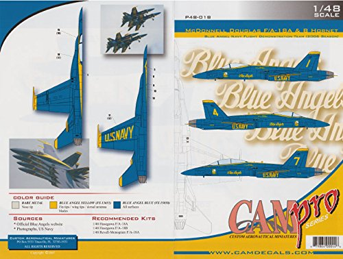 CAMP48018 1:48 CAM Pro Decals - F-18A F-18B Hornet Blue Angels 2006 [WATERSLIDE DECAL SHEET]