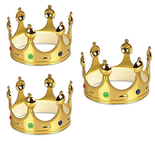 Gold King Prince Queen Crowns - 3 Pack -