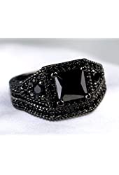 Gy Jewelry Vintage Princess Onyx Black Gold Filled Women's Wedding Ring Sets Engagement Gifts