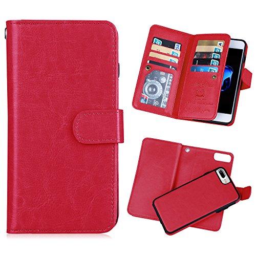 iPhone 8 Plus/iPhone 7 Plus Wallet Case, SUMOON Premium Vintage PU Leather Magnetic Detachable Slim Back Cover Wallet Credit Card Holder Case Built-in 9 Card Slots & Wrist Strap Case ()