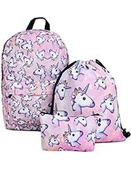 Deanfun Unicorn Backpack for Girls 3pcs/set Print Rainbow Unicorn Backpack School College Bag for Teens Girls...