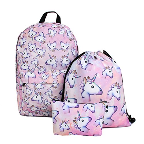 Unicorn Backpack for Girls, Deanfun 3pcs/set Print Rainbow Unicorn Backpack, School College Bag for Teens Girls Students (pink)