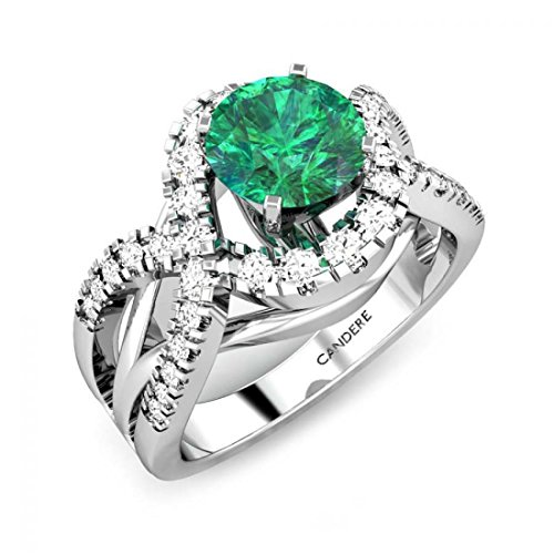 1 1/3 cttw (1.38 ctw) Round Cut Diamond & Green Emerald Solitaire Engagement Ring for Women/Ladies/Her in 14K White Gold (Certified)