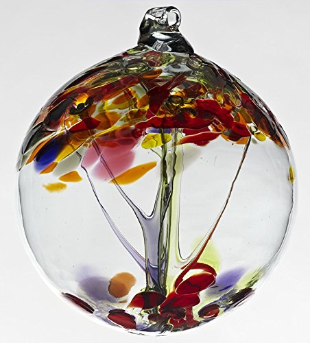 Kitras Art Glass - TREE OF ENCHANTMENT - ENTHUSIASM - WITCH BALL - Old English - Hand Blown Glass Hanging Ornament-OR-TREE-06-EU