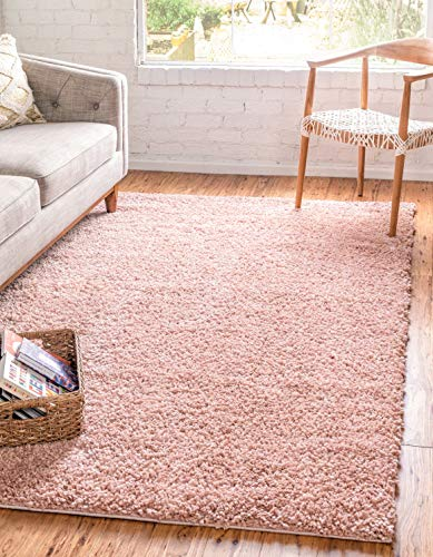 Unique Loom Davos Shag Collection Contemporary Soft Cozy Solid Shag Dusty Rose Area Rug 3 3 x 5 3