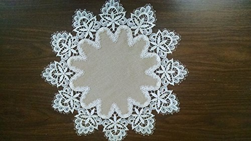 Round Doily or Place Mat in Venetian Lace and Light Brown Burlap Linen Type Material, Size 16 inches