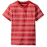 Tommy Hilfiger Big Boys' Bruce Stripe Vneck Tee with Pocket, Red Geranium, Medium (12/14)