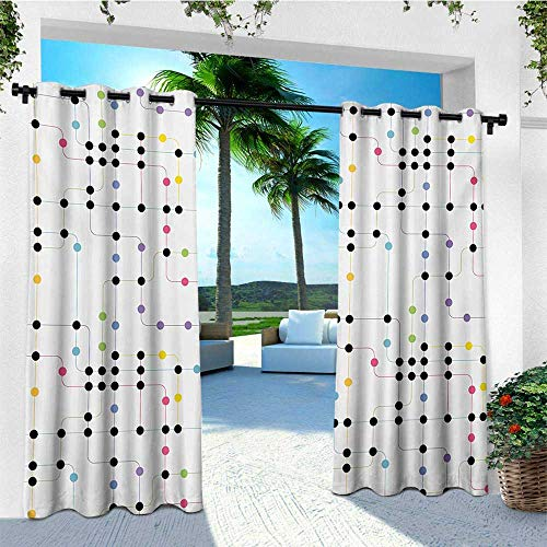 - leinuoyi Colorful, Outdoor Curtain Kit, Metro Scheme with Vivid Colored Intricate Lines and Dots Urban Life Transportation, for Patio Waterproof W72 x L96 Inch Multicolor