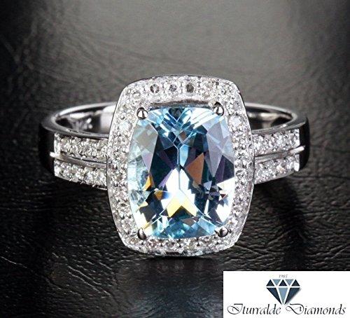 14k Cushion Cut Aquamarine Double Pave Shank Diamond Halo Engagement Ring