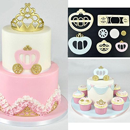 (Cake Decorating Mold, Sacow Fondant Cake Mold Cookie Cutter Princess Carriage Print Plunger 3 Pc)