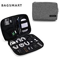 BAGSMART Small Travel Electronics Cable Organizer Bag for Hard Drives, Cables, Charger (Grey)