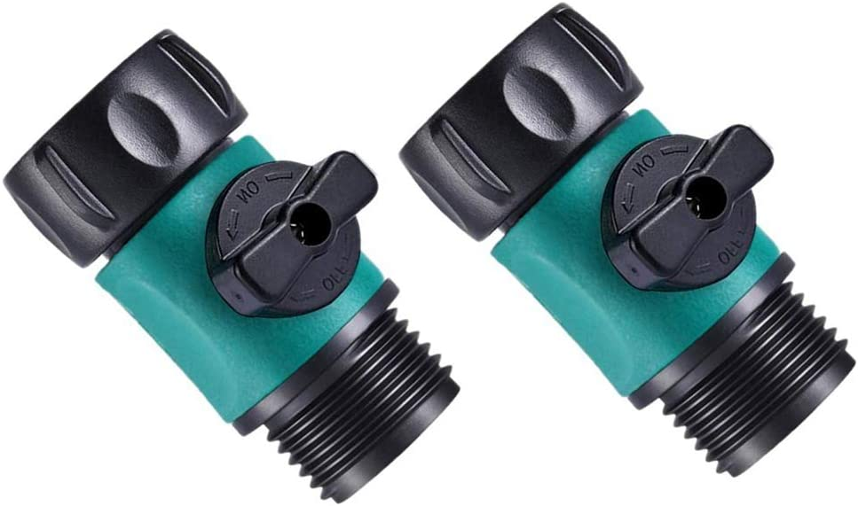 "Sanpaint 2 Pack 3/4"" Garden Hose Shut Off Valve,1-Way Restricted-Flow Water Shut-Off, Fits 3/4 Inch Hose Connector"