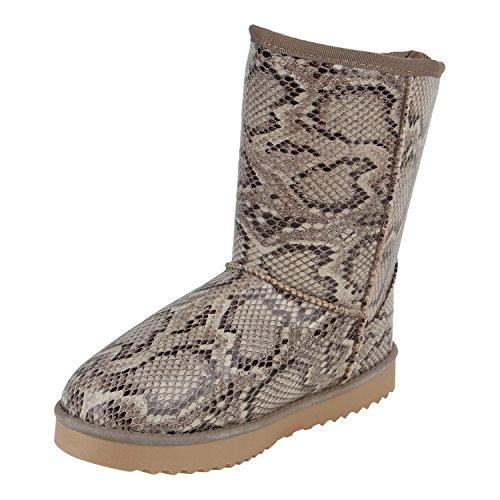 Warm Gefütterte Boots Schlupfstiefel Strass Blumen Schleifen Pailletten Schuhe Kunstfell Stiefel Nieten Booties Winterstiefel Flandell Snake Lack